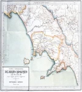 Bartolomeo Capasso, Tavola corografica del Ducato Napoletano nel secolo XI. In basso a destra è indicato il territorio del Ducato Amalfitano