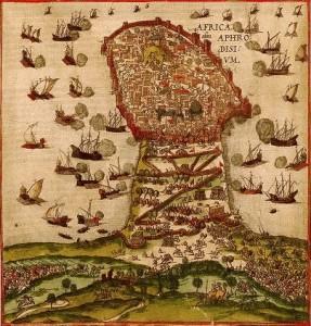 Mahdia assediata. Illustrazione dal Civitates Orbis Terrarum vol. II