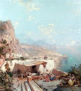 Franz Richard Unterberger, Amalfi e il Golfo di Salerno, olio su tela, 1880 ca.
