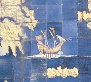 Particolare del pannello di Renato Rossi che illustra le colonie d'oltremare ed i traffici marittimo-commerciali della Repubblica Marinara.