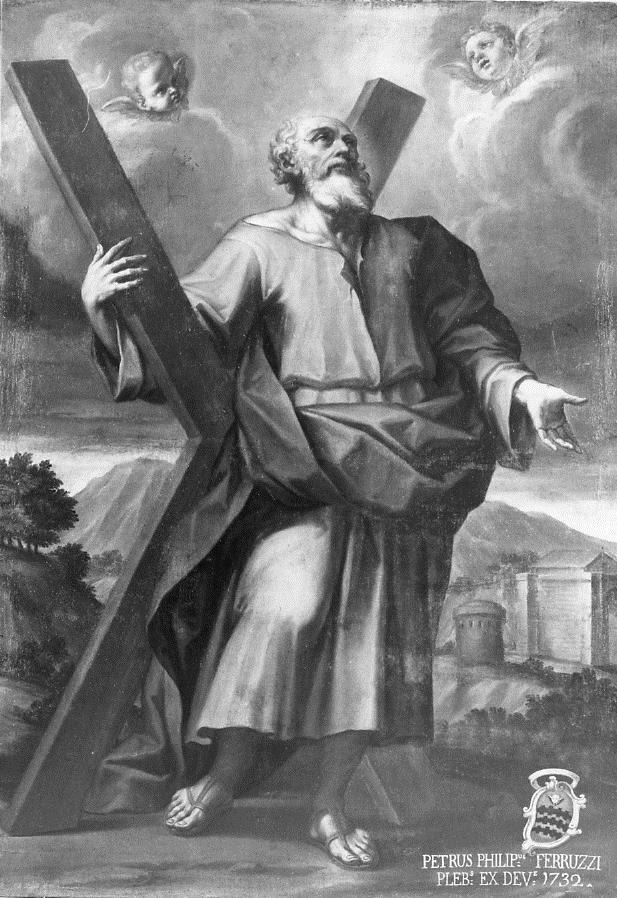 S. Andrea che abbraccia la croce dipinto da Antonio Dardani